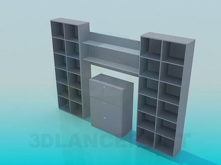 modelo 3D Estantes para libros con el aparador en el centro - escuchar