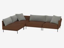Canapé d'angle en cuir modulaire