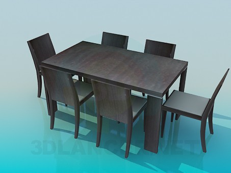 3d моделирование Стол и стулья в комплекте модель скачать бесплатно