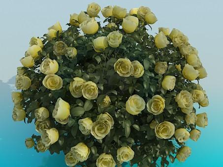 3d модель Пишний кущ троянд – превью