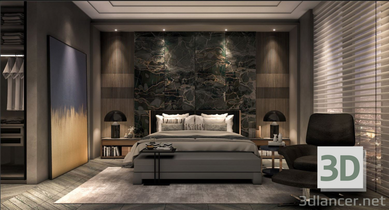 3d Modern Bedroom model buy - render