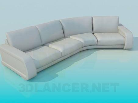 modelo 3D Sofá de cuero de la esquina - escuchar