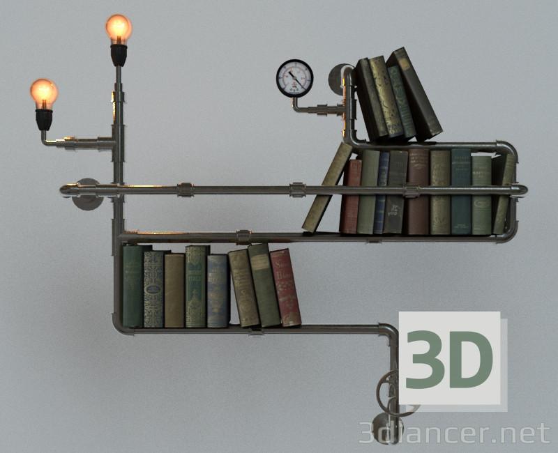 modello 3D Bookshelf steampunk - anteprima