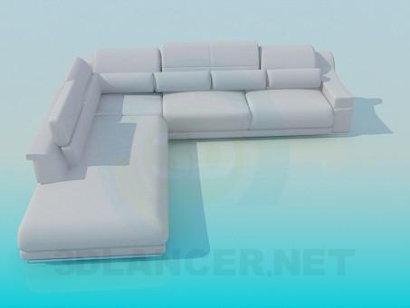 descarga gratuita de 3D modelado modelo Sofá de esquina con cojines
