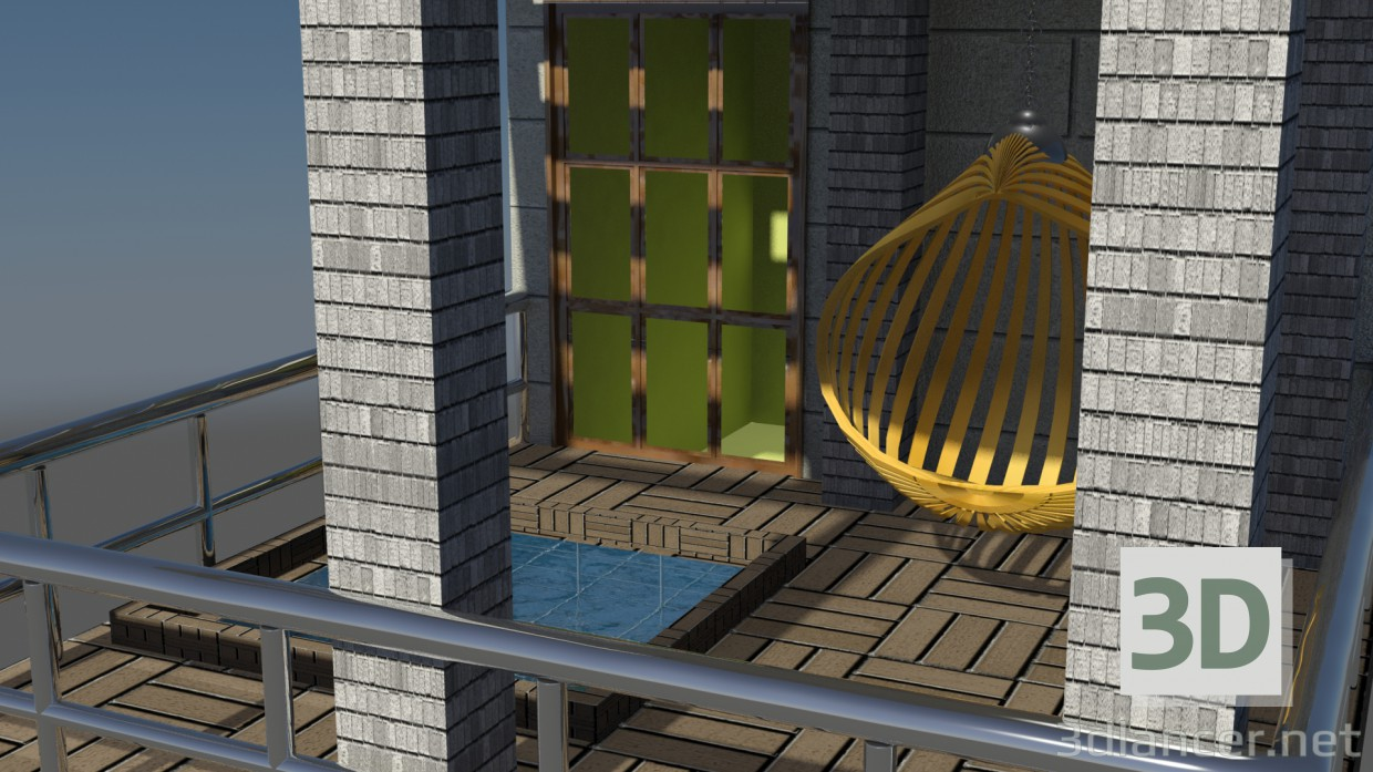 3d model balcony in the style of art deco id 16111 for Balcony models