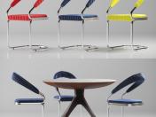 Tavolo e sedia con imbottitura