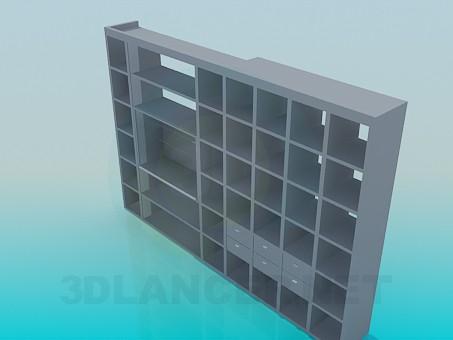 modelo 3D Estante de libros en la sala de estar - escuchar
