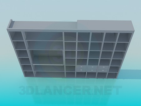 3d model Rack off books in the living room - preview