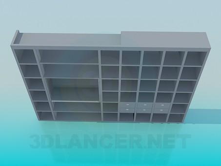 3d модель Стеллаж ждя книг в гостинную комнату – превью