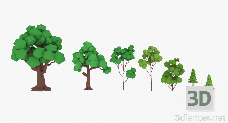 modèle 3D de Ensemble d'arbres LowPoly acheter - rendu