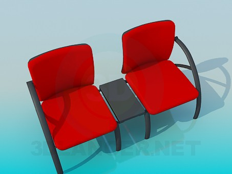 3d model Upholstered bench with stand in the middle of the bench - preview