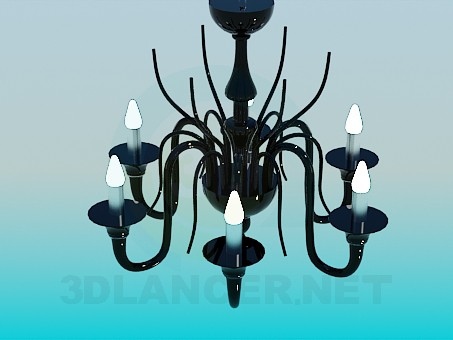 3d model Chandelier made of black glass - preview