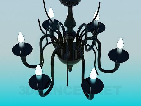 modelo 3D Lámpara Chandelier de cristal negro - escuchar