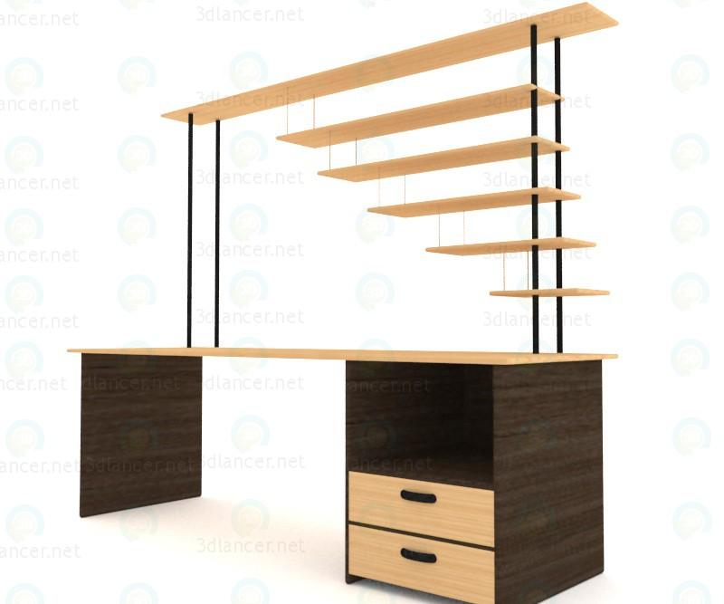 3d Стол деревянный рабочий модель купить - ракурс