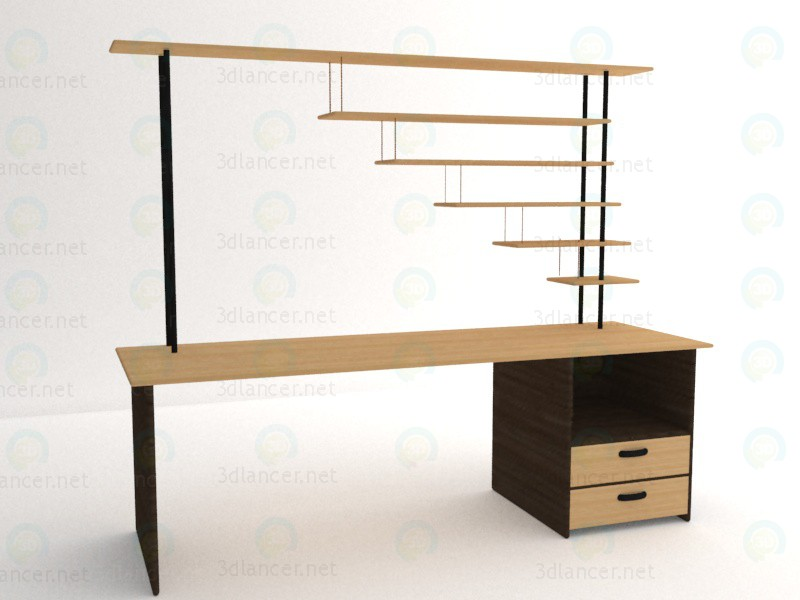 3d Table wooden work model buy - render
