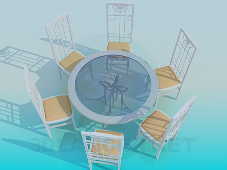 3d modeling Table and chairs set model free download
