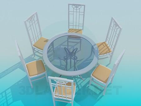 modelo 3D Conjunto mesa y sillas - escuchar