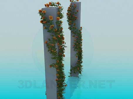 3d model Columns with vines rose - preview