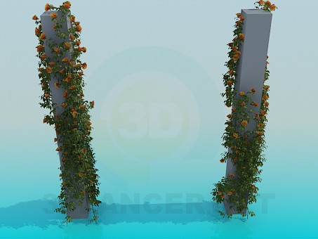 modelo 3D Columnas con vides rosa - escuchar