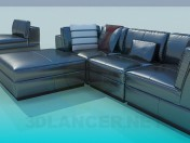 Corner sofa with upholstered