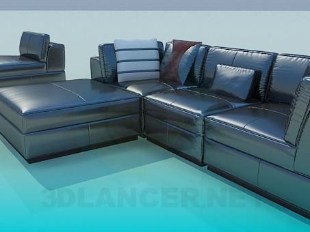 3d modeling Corner sofa with upholstered model free download