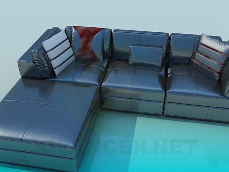 3d model Corner sofa with upholstered - preview