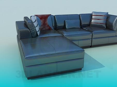 3d модель Угловой диван с блестящей обивкой – превью