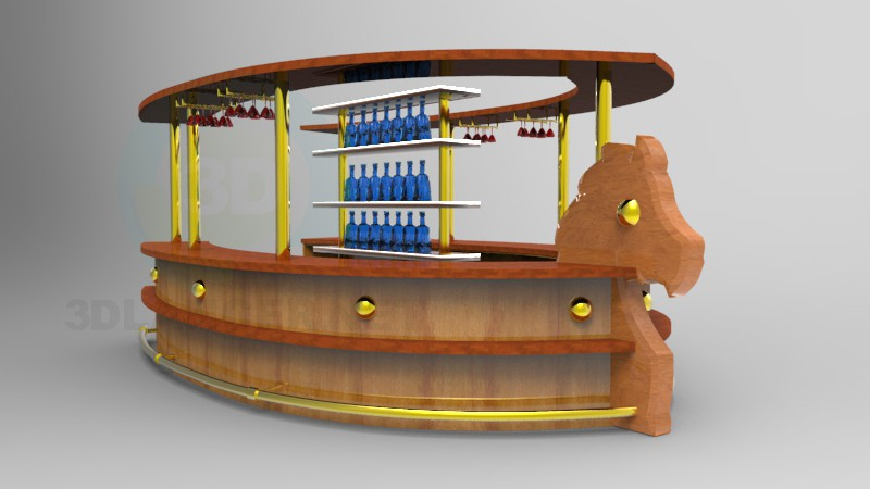3d model bar counter in the style of loft id 10116 for Food bar 3d model