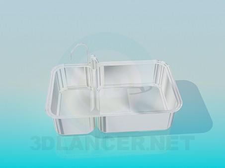 modelo 3D Fregadero de cocina doble - escuchar