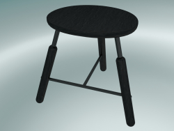 Norm stool (NA3, W 49xH 46cm, Black powder coated, Black stained ash)