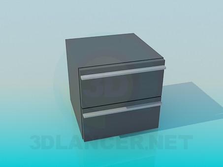 modèle 3D Table de chevet avec 2 tiroirs - preview
