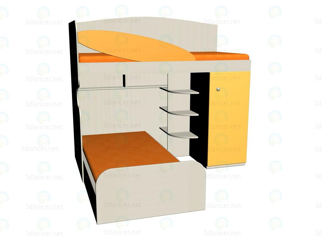 3d модель Блок кроватный ЛК-109 правый с кроватью – превью