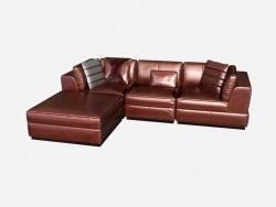 Кожаный угловой диван в стиле арт деко Leoncavallo