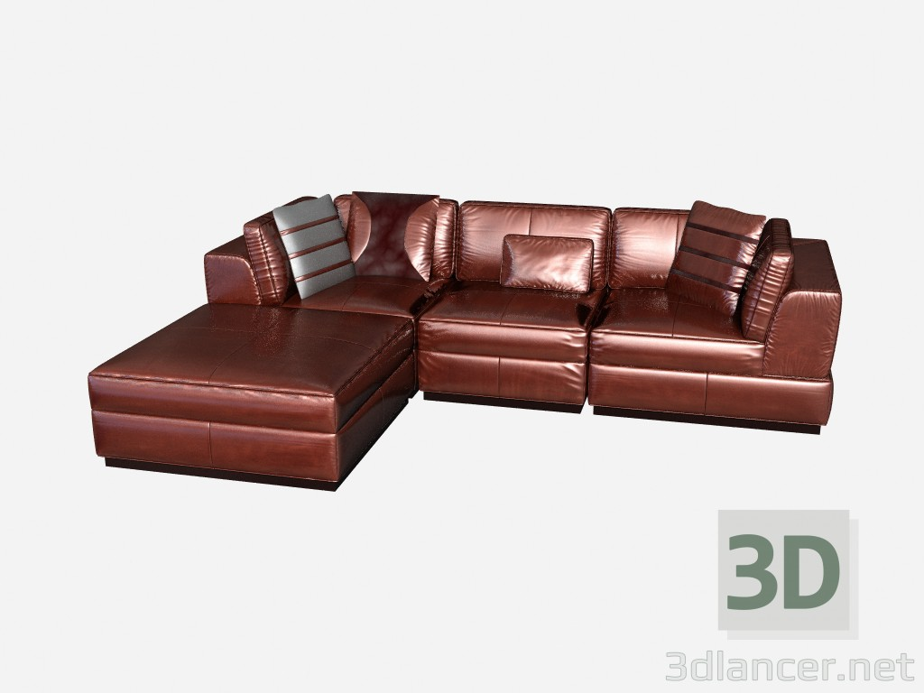 Astonishing 3D Model Leather Corner Sofa In Art Deco Style Called Ocoug Best Dining Table And Chair Ideas Images Ocougorg