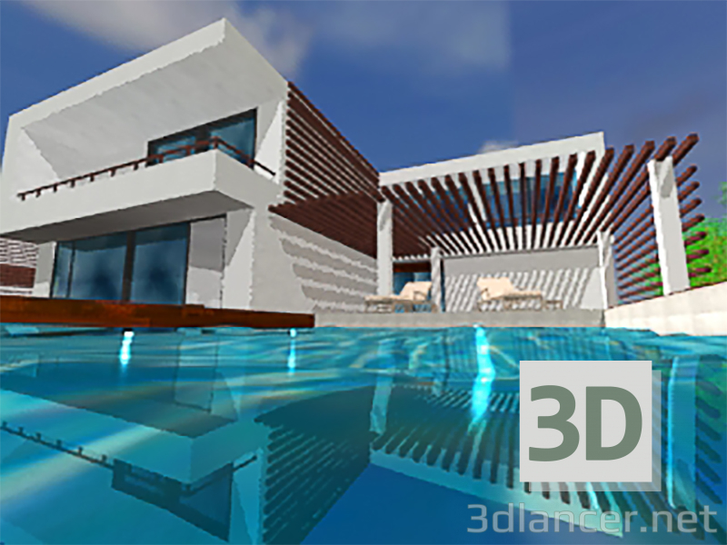 3d modeling House with 2 floors. model free download