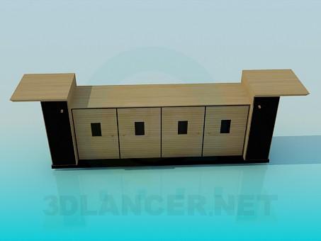 modelo 3D Mesa de TV en la sala de estar - escuchar