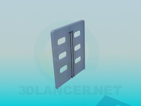 3d model Double doors with windows and long handles - preview