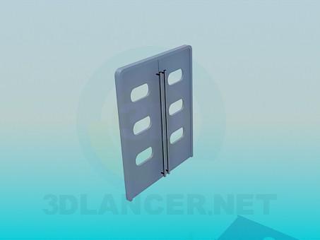3D Modell Doppeltür mit Fenster und langen Henkeln - Vorschau
