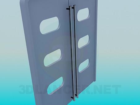 3d модель Двойные двери с окошками и длинными ручками – превью