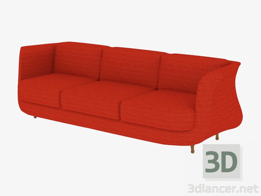 Modelo 3d sof triple con tapicer a de tela del fabricante - Tela tapiceria sofa ...