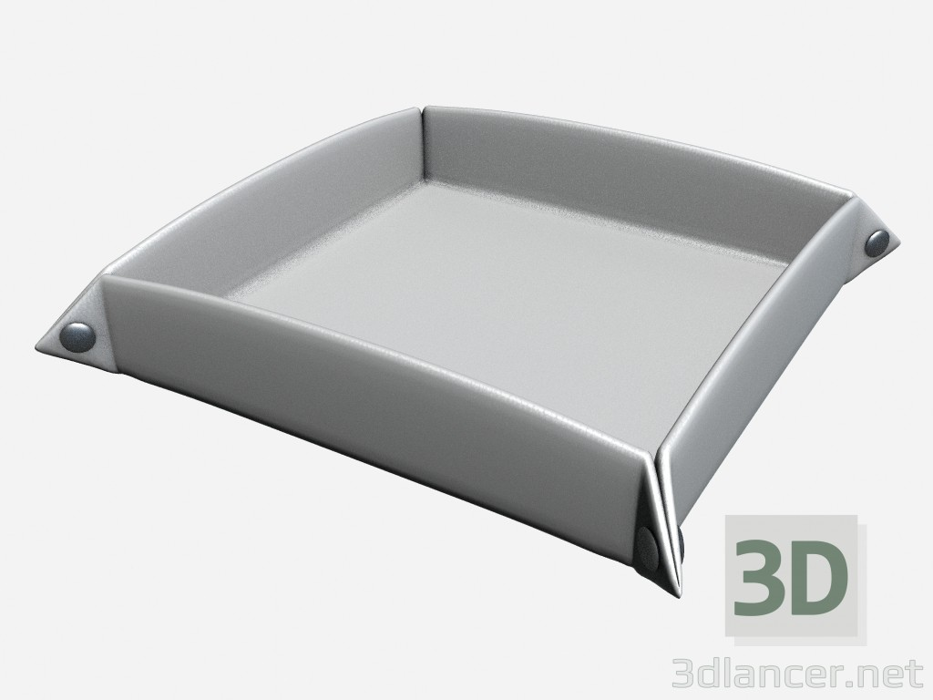 3d model Ashtray Art Deco Decor Tray in white leather - preview