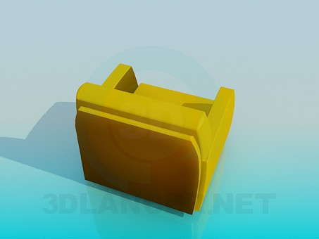 3d model Mustard-colored chair - preview