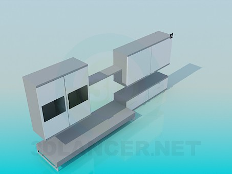 3d model Hanging pedestals and stand set - preview
