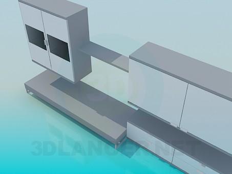 modelo 3D Colgante pedestales y soporte de sistema - escuchar