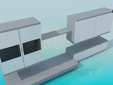 3d модель Підвісні тумби та підставки в наборі – превью