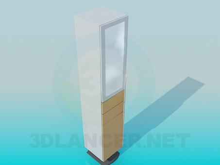 3d model Cabinet with glass door and racks - preview