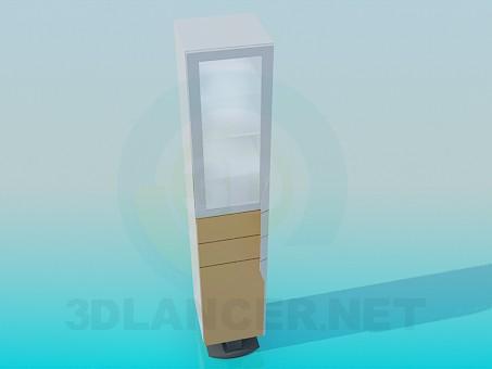 3d модель Шкафчик со стеклянной дверкой и полочками – превью