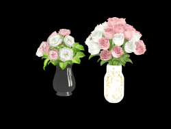 two rose bouquets in vases