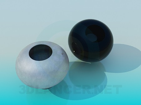 3d model Round vases in set - preview
