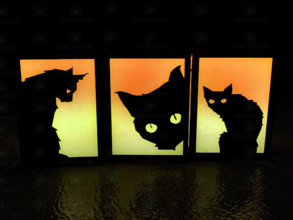 3d modeling Lamp decorative Cats on Halloween model free download